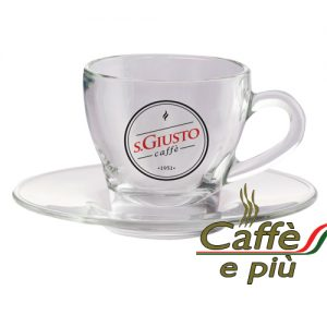 S.GIUSTO Cappuccino Tasse Glas inklusive Untertasse