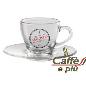 S.GIUSTO Espresso Tasse Glas inklusive Untertasse